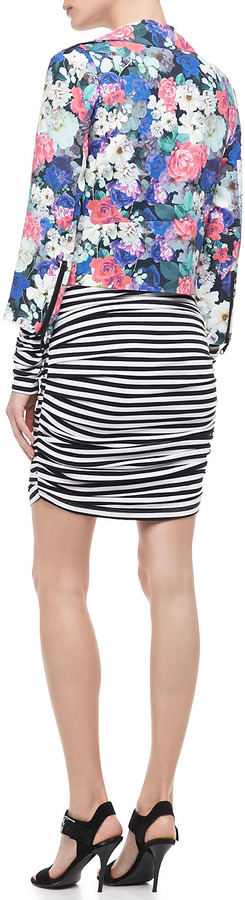 Rebecca Minkoff Lori Ruched Striped Dress
