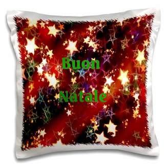 3dRose Image of Buon Natale Italian Christmas On Stars - Pillow Case, 16 by 16-inch