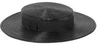 Saint Laurent Grosgrain-trimmed Straw Hat - Black