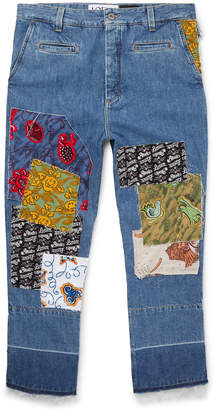 Loewe Paula's Ibiza Fisherman Wide-Leg Cropped Patchwork Denim Jeans - Men - Blue