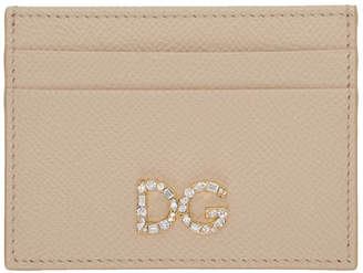 Dolce & Gabbana Pink Crystal Logo Card Holder