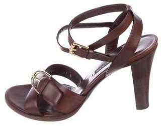 Ralph Lauren Purple Label Leather Ankle Strap Sandals