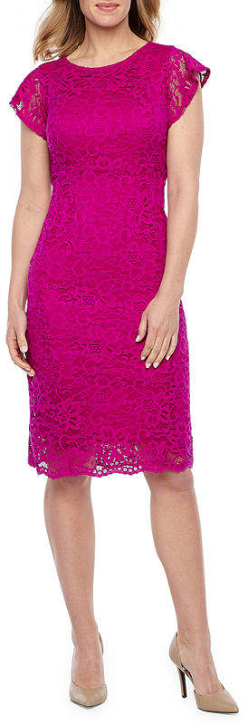 LIZ CLAIBORNE Liz Claiborne Short Sleeve Floral Lace Sheath Dress