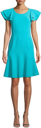 Michael Kors Flutter-Sleeve Scoop-Neck Stretch-Wool Crepe Dress