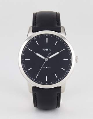 Fossil Fs5398 Minimalist Leather Watch In Black 44mm