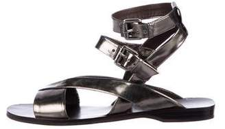 Theory Metallic Ankle Strap Sandals