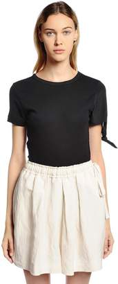 J.W.Anderson Silk Sleeve On Ribbed Jersey T-Shirt