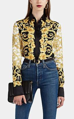Versace Women's Hibiscus-Print Silk Blouse