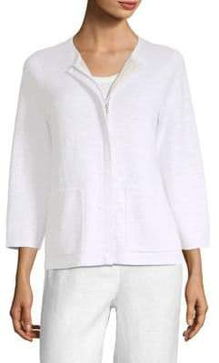 Eileen Fisher Roundneck Full Zip Cardigan