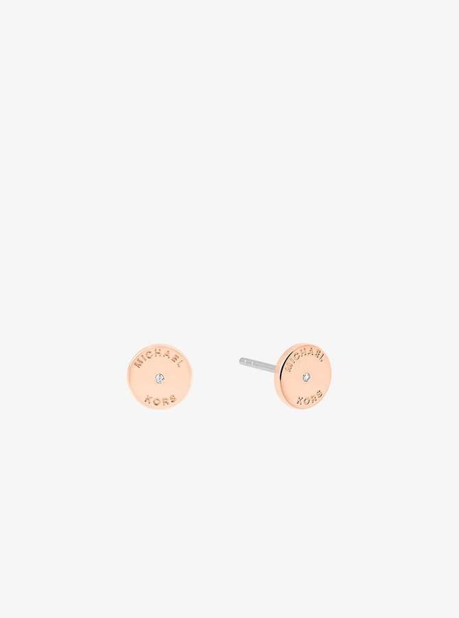 Michael Kors Rose Gold-Tone Heart Drop Earrings