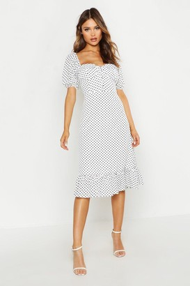 boohoo Puff Sleeve Bustier Ruffle Hem Polka Dot Midi Dress
