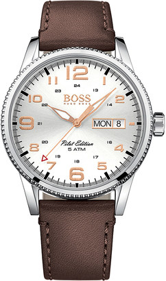 HUGO BOSS 1513333 pilot stainless steel and leather watch $188 thestylecure.com