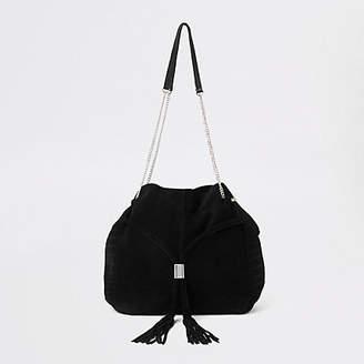 River Island Black leather gold tone chain handle tote bag