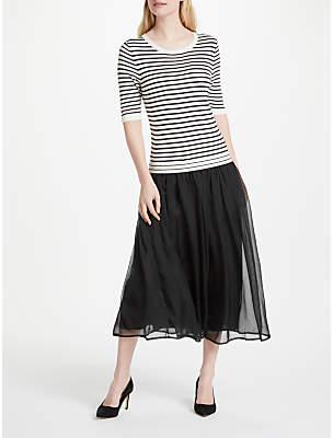 Oui Striped Chiffon Skirt Dress, Taupe/Grey