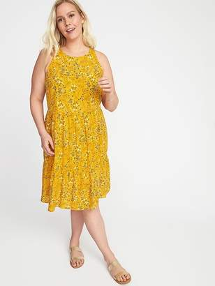 Old Navy Floral-Print Plus-Size Tiered Swing Dress