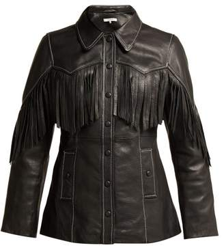 Ganni Angela Fringed Leather Jacket - Womens - Black