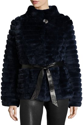 Gorski Reversible Down & Fur Belted Puffer Coat, Navy $2,795 thestylecure.com