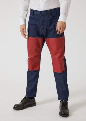 Emporio Armani J104 Loose Fit Jeans With Blocks Of Contrasting Colours