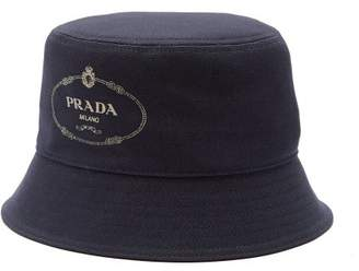 3f9d2f800e8d73 Prada Logo Print Cotton Canvas Bucket Hat - Mens - Navy