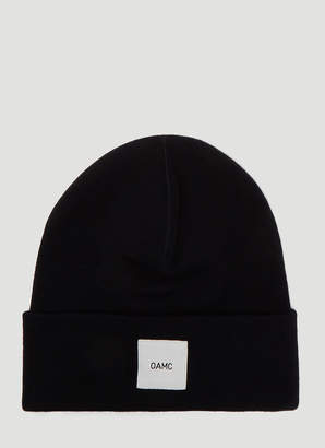 Oamc Logo Knit Hat in Navy