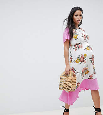 Asos DESIGN Maternity nursing double layer midi dress in floral print
