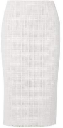 Roland Mouret Ryehill Stretch Crepe-paneled Crochet-knit Cotton Pencil Skirt