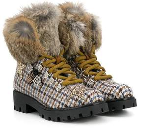 Ermanno Scervino checked furry boots