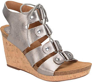 Sofft Lace-up Ghillie Wedge Sandals - Carita