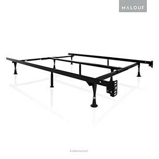 Malouf STRUCTURES Heavy Duty 9-Leg Adjustable Metal Bed Frame with Double Center Support and Glides Only - UNIVERSAL (Cal King