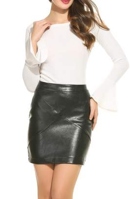 7394c53c88f18 at Amazon Canada · Zeagoo Women Faux Leather Bodycon Basic Versatile High  Waisted Pencil Skirt Camel XXL