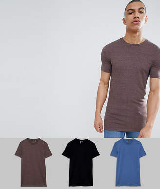 Asos Design DESIGN longline muscle fit crew neck t-shirt with stretch 3 pack multipack saving