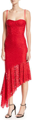Milly Angelina Sleeveless Asymmetric Stretch Lace Dress