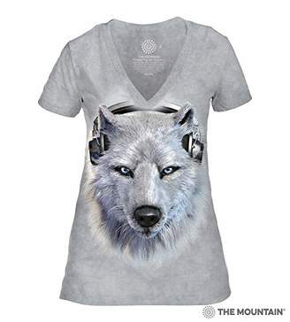 The Mountain Women's White Wolf DJ Tri-Blend V-Neck T-Shirt