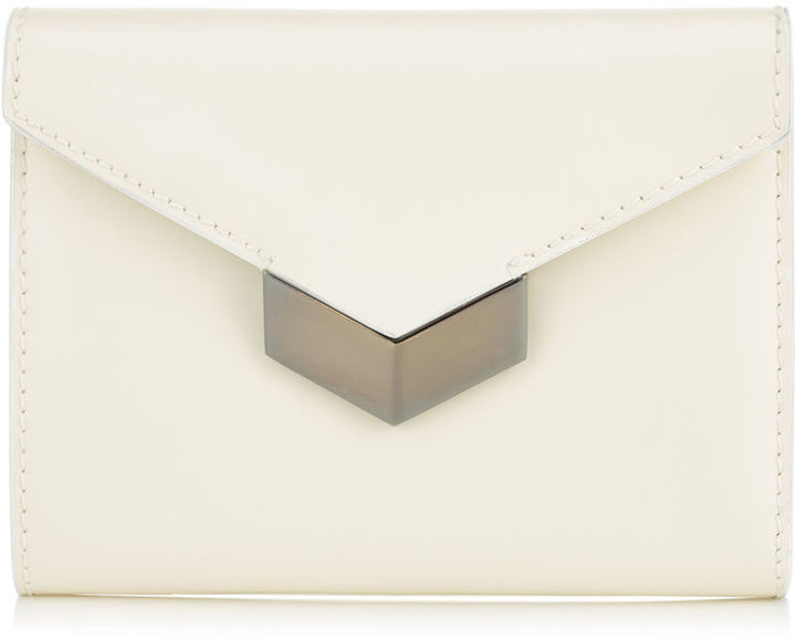 Jimmy Choo LEONIE Optic White Spazzolato Leather French Wallet