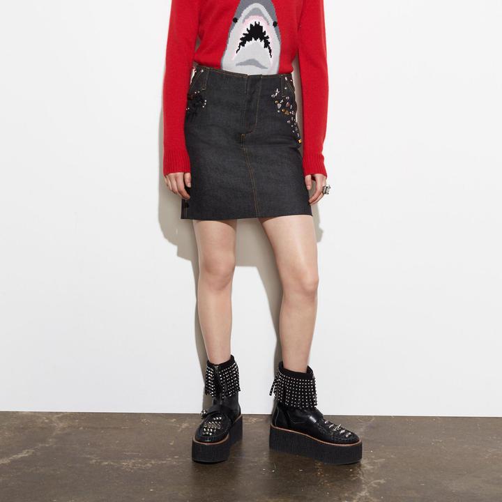 Coach  COACH Coach Customized Denim Mini Skirt