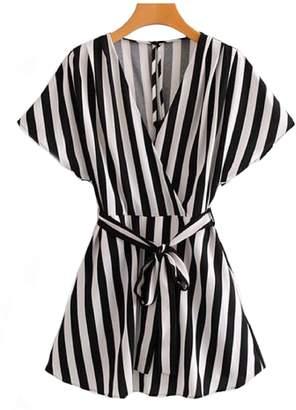 Goodnight Macaroon 'Cilla' Black & White Striped Romper