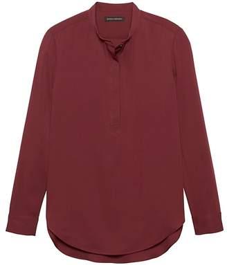 Banana Republic Parker Tunic-Fit Washable Stretch Silk Popover Shirt