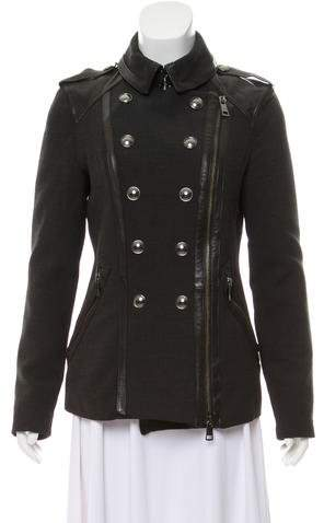 Burberry London Leather-Trimmed Double-Breasted Coat
