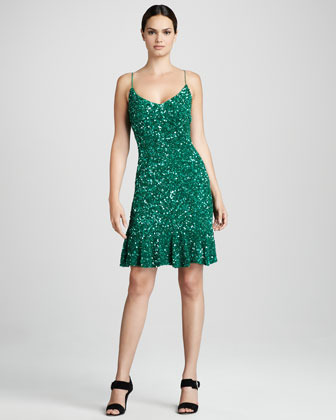 Theia Beaded Cocktail Dress