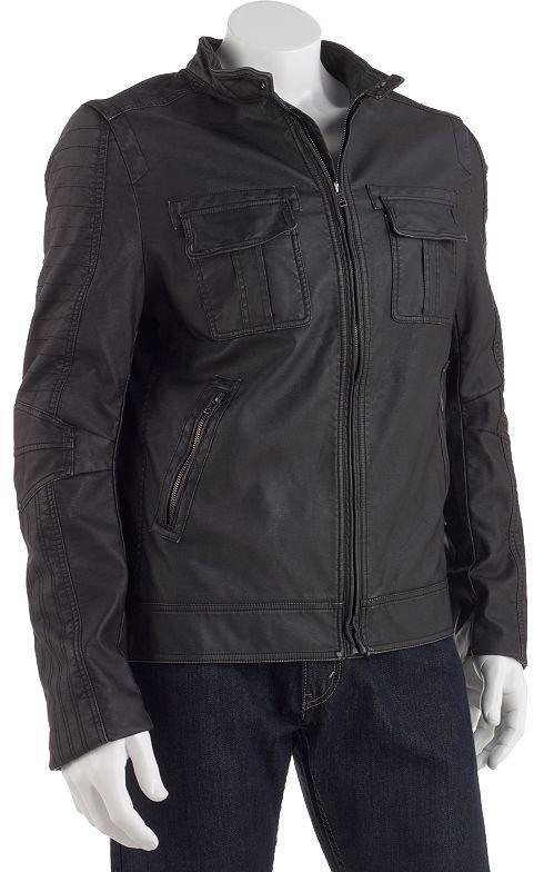 Rock & Republic open-bottom faux-leather jacket - men
