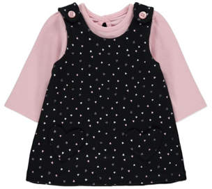George Heart Print Pinafore and Top Set