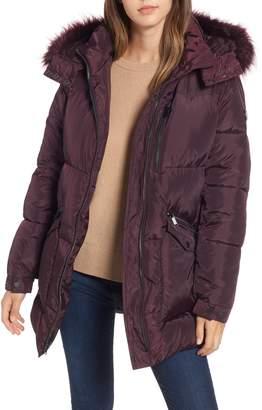 Rachel Roy Puffer Jacket with Faux Fur Trim