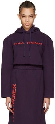 Vetements SSENSE Exclusive Purple 'Sexual Fantasies' Football Shoulder Hoodie $1,055 thestylecure.com