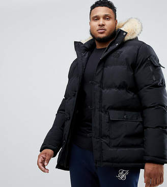 SikSilk puff parka jacket with fur hood in black exclusive to ASOS
