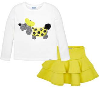 Mayoral Girl's Long-Sleeve Dog Tee w/ Ruffle Skirt, Size 4-7