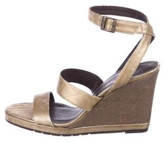 Donald J Pliner Leather Strap Wedge Sandals