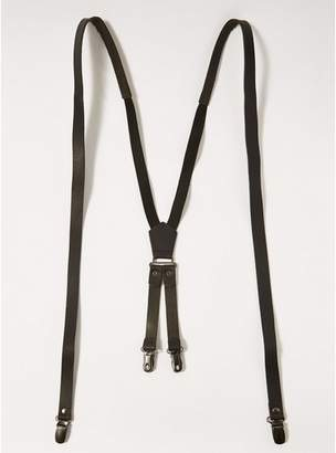 Topman Mens Black Leather Braces