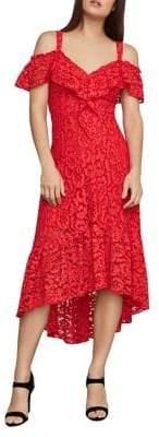 BCBGMAXAZRIA Lace Flared High-Low Dress