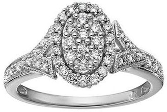 Affinity Diamond Jewelry Affinity 14K Gold 3/8 cttw Diamond Oval ClusterHalo Ring