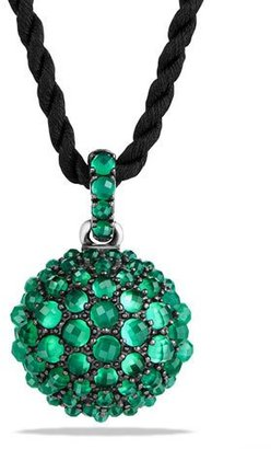"""David Yurman 20mm Osetra Faceted Green Onyx Pendant Necklace, 42"""" $1,600 thestylecure.com"""